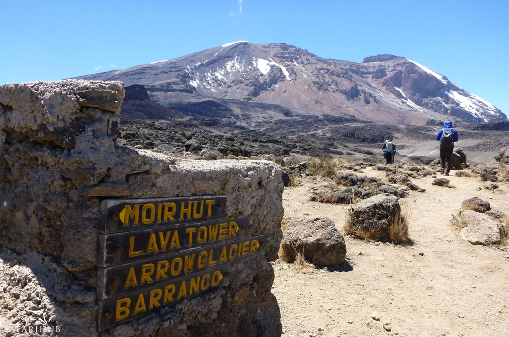 Shira 2 Camp (3,800m/12,500ft) to Moir Hut (4,200m/13,800ft) via Lava Tower (4,550m/14,900ft) (optional)